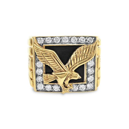 Silver Onyx Eagle Man Ring - 18K Gold Over Sterling Silver Onyx And Cubic Zirconia Eagle Ring SZ 10