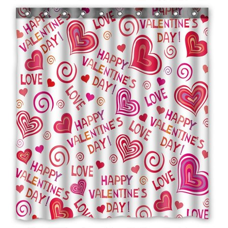 GCKG Lovely Hearts Valentines Day Bathroom Shower Curtain, Shower Rings Included 100% Polyester Waterproof Shower Curtain 66x72 Inches