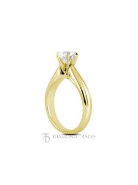 0.62ct F-I1 Ideal Round Certified Diamond 14k Gold Cathedral Solitaire Ring 2mm