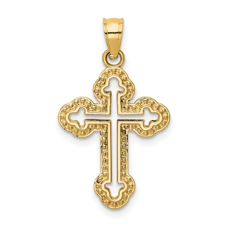 (14kt Yellow Gold Cut Out Budded Cross Religious Pendant Charm Necklace Fine Jewelry Ideal Gifts For Women Gift Set From Heart)