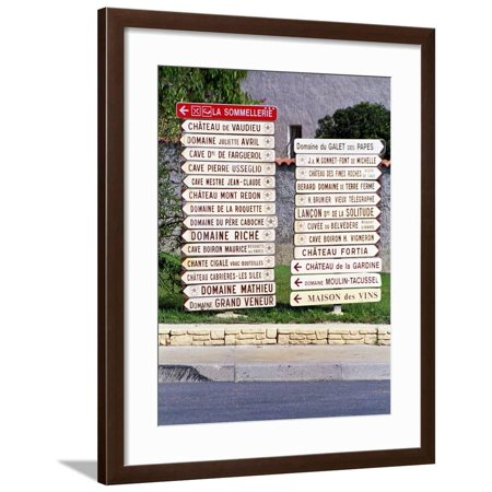 Road Signs to Wine Producers in Chateauneuf-Du-Pape, France Framed Print Wall Art By Per
