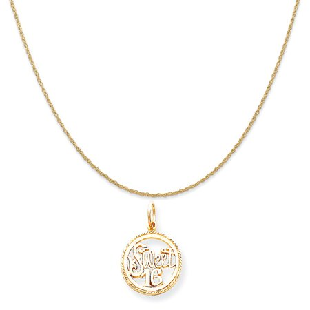 10k Yellow Gold Sweet 16 Charm on a 14K Yellow Gold Rope Chain Necklace, 18""