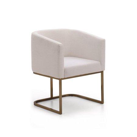 Dining Chair Cream Fabric /Antique Brass VIG Modrest Yukon Modern ()