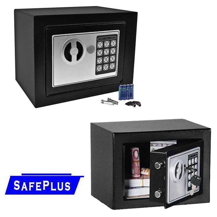 "9"" Fire Safe Box, Digital Lock Box with Key for Gun, Book, Cash, Jewelry, Valuable Office Home Hotel with Two Keys, Black, 0.2 CF 345 CI"