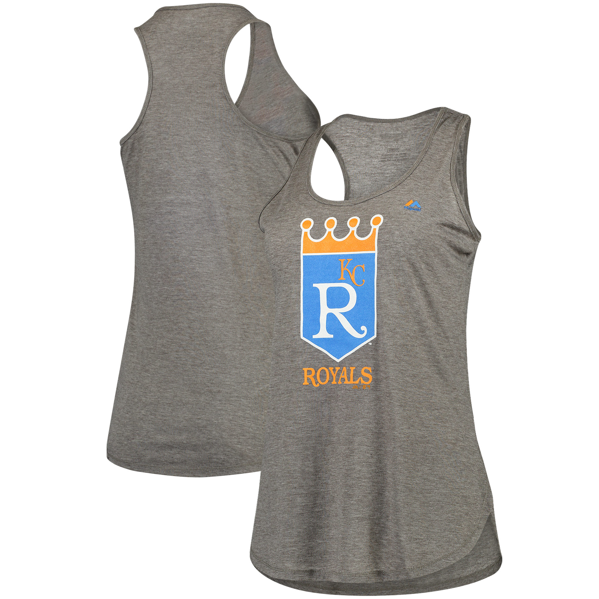 Kansas City Royals Majestic Women's Tested Cooperstown Collection Racerback Tank Top - Gray