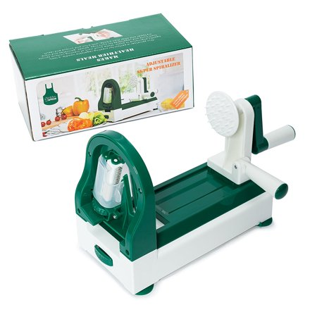 Green Apron Strongest-and-Heaviest Duty Vegetable Spiral Slicer 4-Blade Spiralizer, Vegetable Slicer, Best Veggie Pasta Spaghetti Maker for Low
