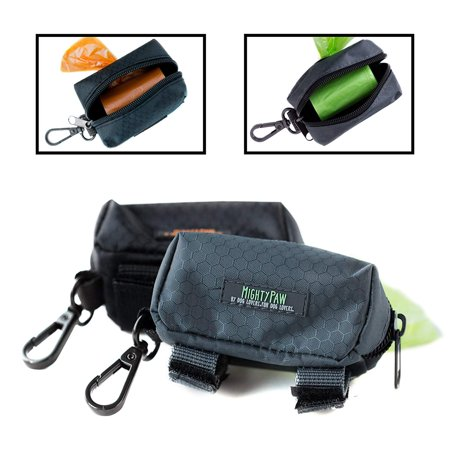 Dog Poop Bag Holders (Mighty Paw Dog Poop Bag Holder, Pick-up Bag Zippered Pouch, Includes Carabiner Hook and 1 Roll of Pick-up Bags (Grey/Green) )