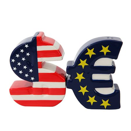 US VERSUS EURO DOLLAR CURRENCY CERAMIC MAGNETIC SALT PEPPER (Shaker Euro Top)