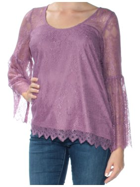 KENSIE Womens Purple Lace Long Sleeve Jewel Neck Top  Size: M