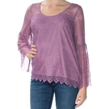 KENSIE Womens Purple Lace Long Sleeve Jewel Neck Top  Size: M Jewel Neck Blouse