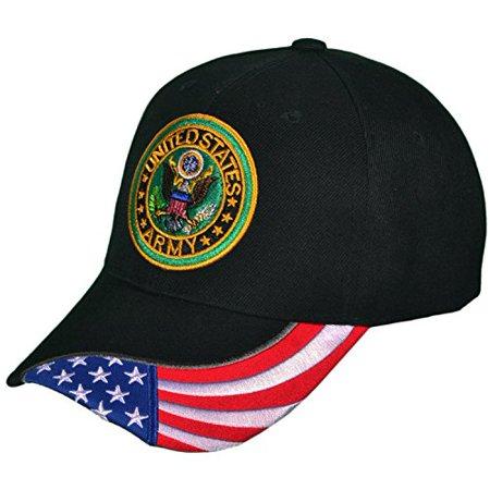 2bc67b2d5766ea Army Cap US Veteran Emblem Logo American Flag Hat United States (US Army  Veteran with Flag Black Hat Logo Shad) - Walmart.com