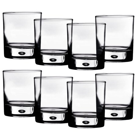 Home Essentials Red Series 10 oz. Bubble-Bottomed Round Cut Drinking Glasses - Set of 8 - Football Drinking Glasses
