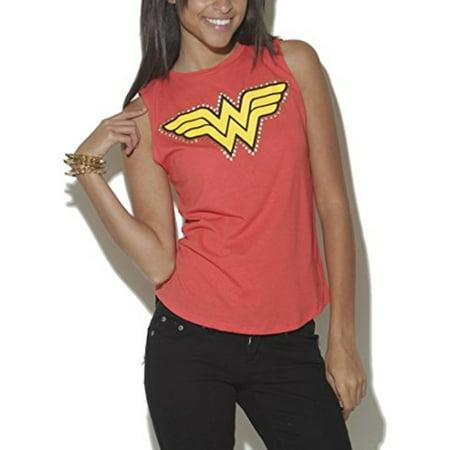 Wet Seal Women's Studded Wonder Woman Muscle Tank (XS) ()