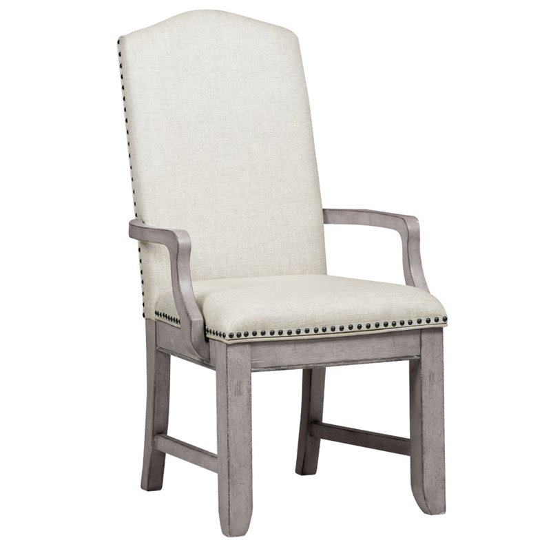 Bowery Hill Upholstered Dining Arm Chair in Gray