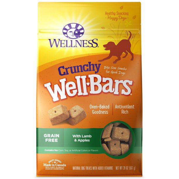Wellness WellBars Natural Grain Free Crunchy Dog Treats, Lamb & Apples, 20-Ounce Box