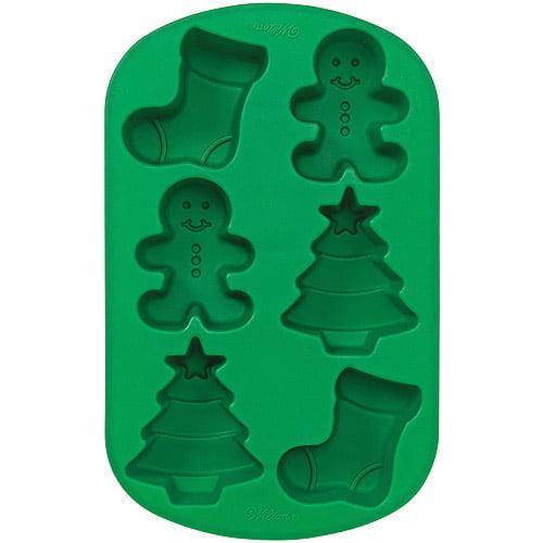 Wilton 6-Cavity Silicone Mold, Stocking, Gingerbread Boy, & Tree 2105-4893