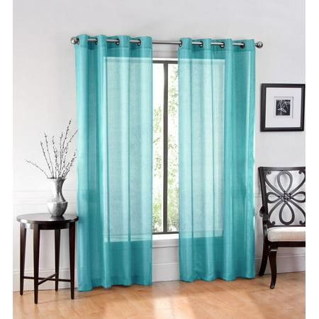 2 Pack: GoodGram Ultra Luxurious High Woven Elegant Sheer Grommet Curtain Panels - Turquoise ()