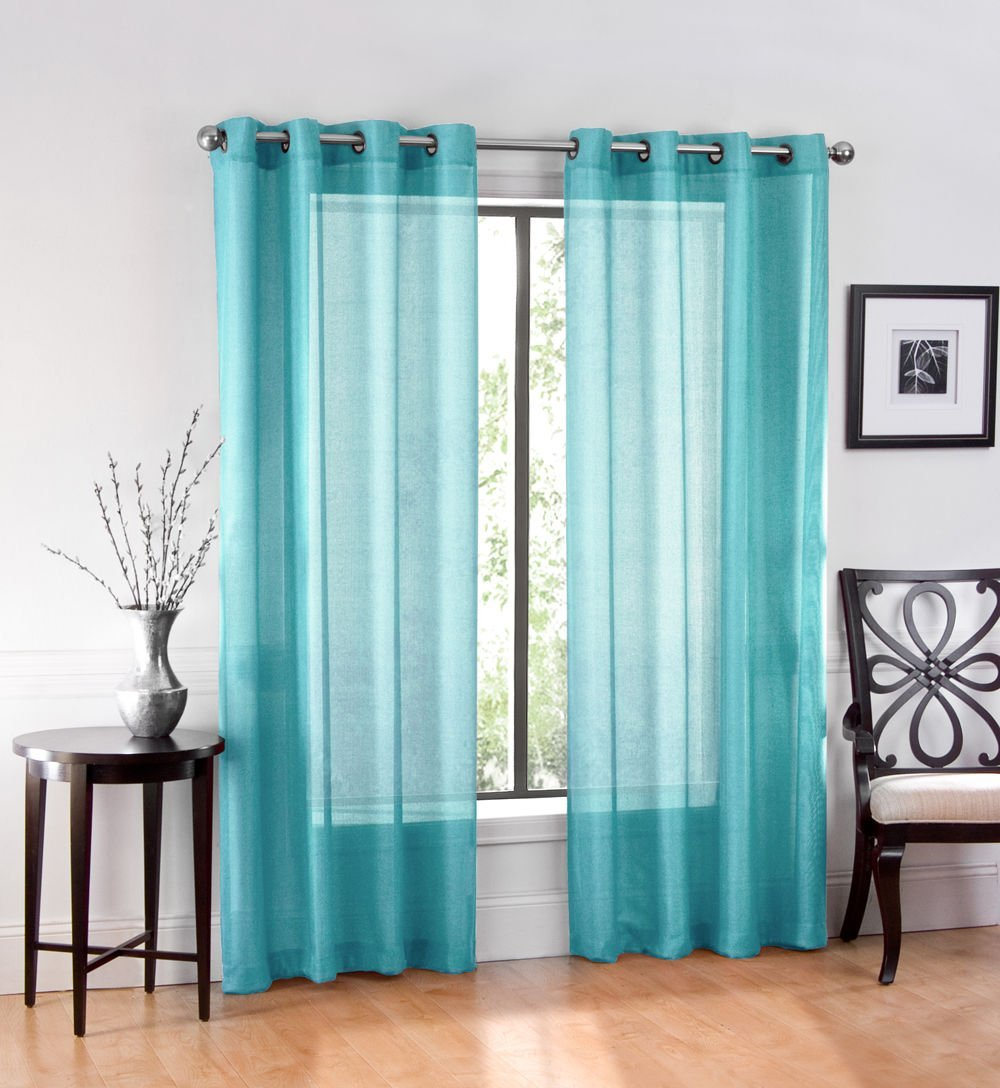 2 Pack: GoodGram Ultra Luxurious High Woven Elegant Sheer Grommet Curtain  Panels   Turquoise