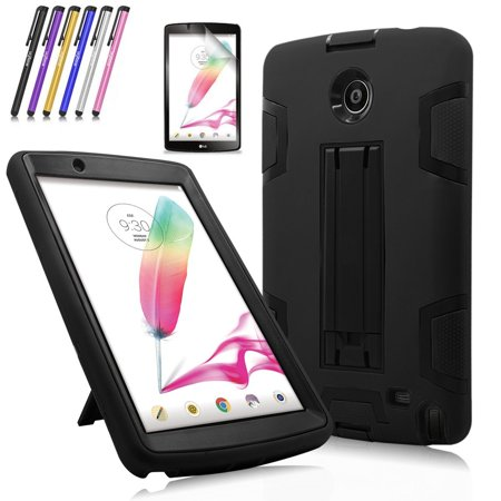 Mignova Heavy Duty rugged impact Shock-Proof Case with Build In Kickstand Protective Case For LG G Pad F 8.0 / LG GPad II 2 8.0 Inch Tablet + Screen Protector Film and stylus pen (Black / Black) ()