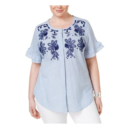 Ny Collection Plus Size Blue Embroidered Striped Button-Down Shirt 1X