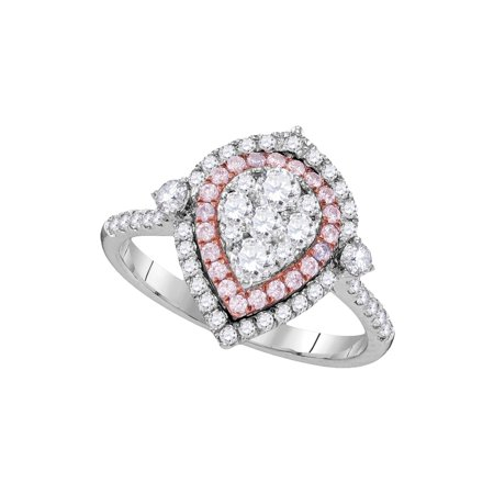 8ccc067b3820ec Size - 7 - Solid 14k Rose And White Gold Round White And Pink Diamond  Engagement
