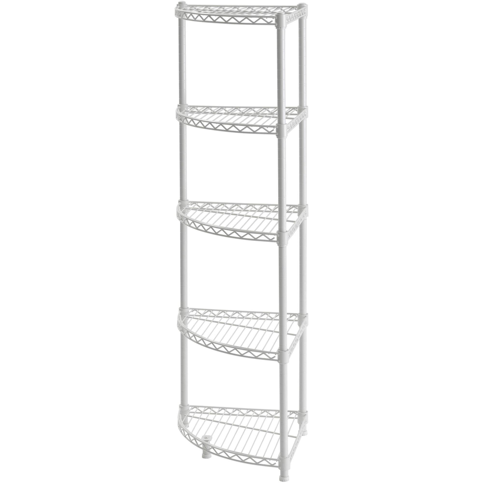 Details About Muscle Rack Wscr141447 5 Shelf Steel Wire Corner Shelving Unit 14 Width 47 H