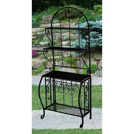 Bronze Antique Shelf - 4 Shelf Bakers Rack w Wine Holder in Antique Bronze