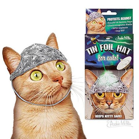 Archie McPhee Tin Foil Hats for Conspiracy Cats - Cat Putting On Rabbit Hat