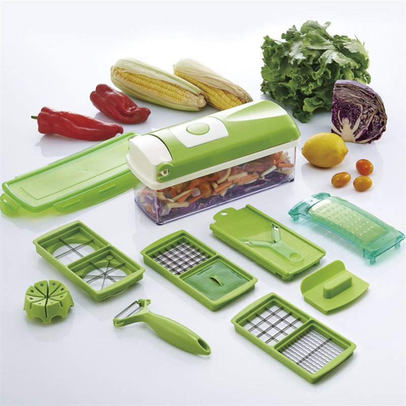 Vegetable Chopper;10pcs Vegetable Slicer Dicer Food Chopper Cutter & Grater Set, Interchangeable Stainless Steel Blades, Multi Chopper Fruit Chopper & Onion Chopper Dicer Kitchen Cutter Peeler