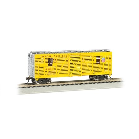 Bachmann 40' Animated Stock Car - UNION PACIFIC with HORSES - HO Scale, Bring your consist to life with this Animated Stock Car By Bachmann (Pacific 40' Stock)