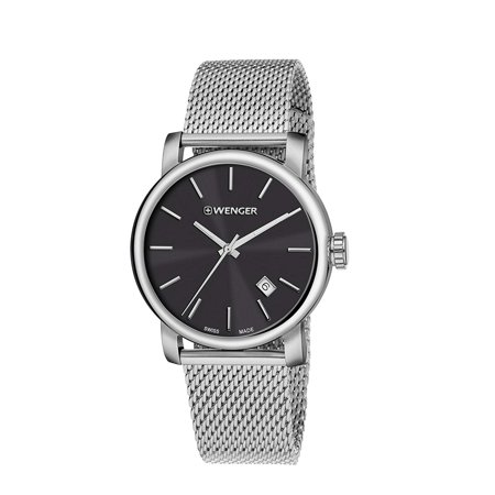 Vintage Pocket Watch Dials (Wenger Urban Vintage Black Dial Stainless Steel Men's Watch 01.1041.140 )