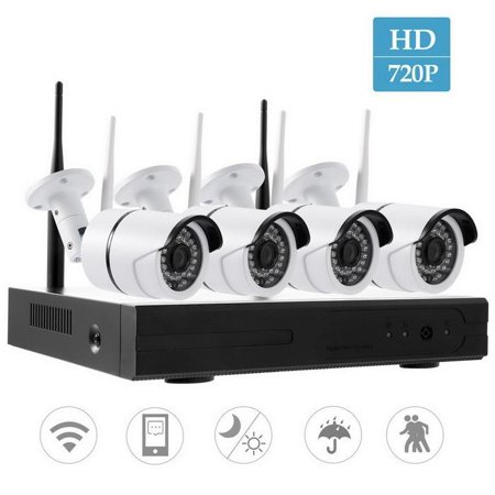 720p Nvr Ip Camera Wireless 4 Cameras 4ch Kit P2p Hd Outdoor Ir Cut Security Wifi Cctv System
