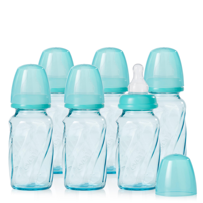 Evenflo Feeding Vented + BPA-Free Glass Baby Bottles - 4oz, Teal, 6ct