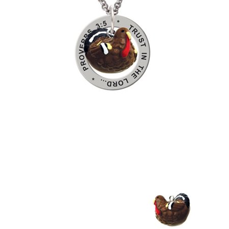 Resin Turkey Proverbs 3:5 Affirmation Ring Necklace