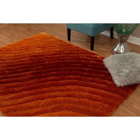 Burnt Orange Area Rug (United Weavers Veria Bog Shag Burnt Orange Hand Carved Polyester Area Rug)