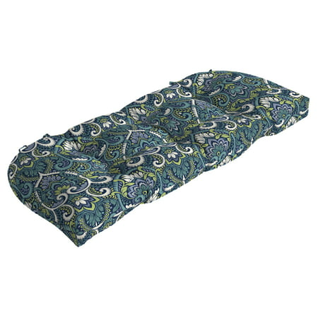 Arden Selections Sapphire Aurora Damask 18 x 41.5 in. Outdoor Wicker Settee Cushion ()