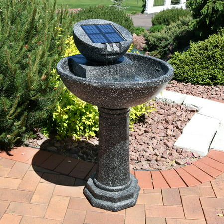 Sunnydaze Modern Solar Power Birdbath Outdoor Water Fountain, 36 Inches Tall ()