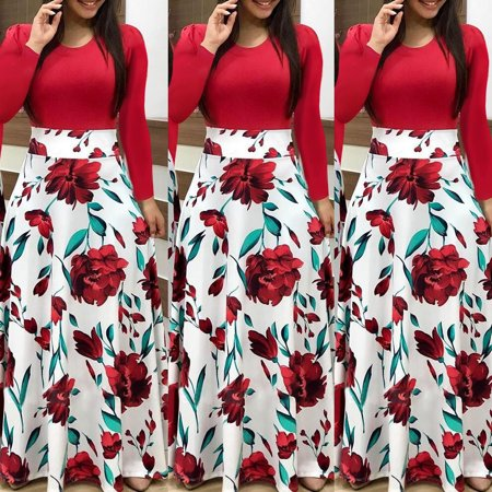 Plus Size Ladies Long Sleeve Floral Boho Women Party Bodycon Maxi Dress Clothing Red S