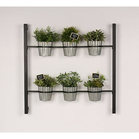 Kate and Laurel Groves Indoor Vertical Herb Garden Hanging 6 Pot Wall Planter, Black - Halloween Grove Gardens
