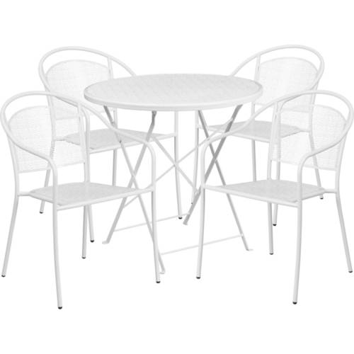 Flash Furniture 30'' Round Indoor-Outdoor Steel Folding Patio Table Set with 2 Round Back Chairs, Multiple Colors by Flash Furniture