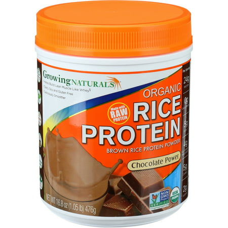 Growing Naturals Organic Rice Protein Powder, Chocolate, 24g Protein, 1.0lb,