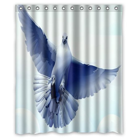 GreenDecor Dove Bird Feather Fly Swing Tylish Drapery Panels Treatment Waterproof Shower Curtain Set with Hooks Bathroom Accessories Size 60x72 inches