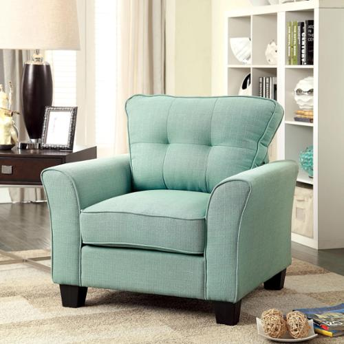 Furniture of America Primavera Modern Linen Chair Light Teal