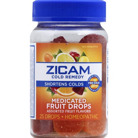 Zicam Cold Remedy Medicated Fruit Drops, Assorted Fruit Flvr, 25