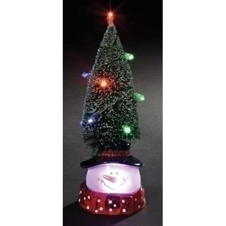 975 led lighted green tree with snowman head christmas figure