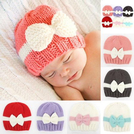 HiCoup Newborn Baby Girl Infant Winter Hat Color Block Bowknot Warm Knitted  Beanie Cap - Walmart.com 8b635f5752de