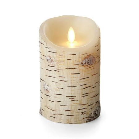 Luminara Birch Bark Pillar Flameless Candle: 5