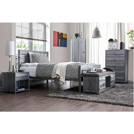 Silver Metal Frame Finish Modern Bedroom Furniture 2piece Full Size Bedroom Set