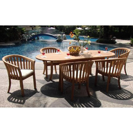 teak dining set6 seater 7 pc 94 double extension oval table and