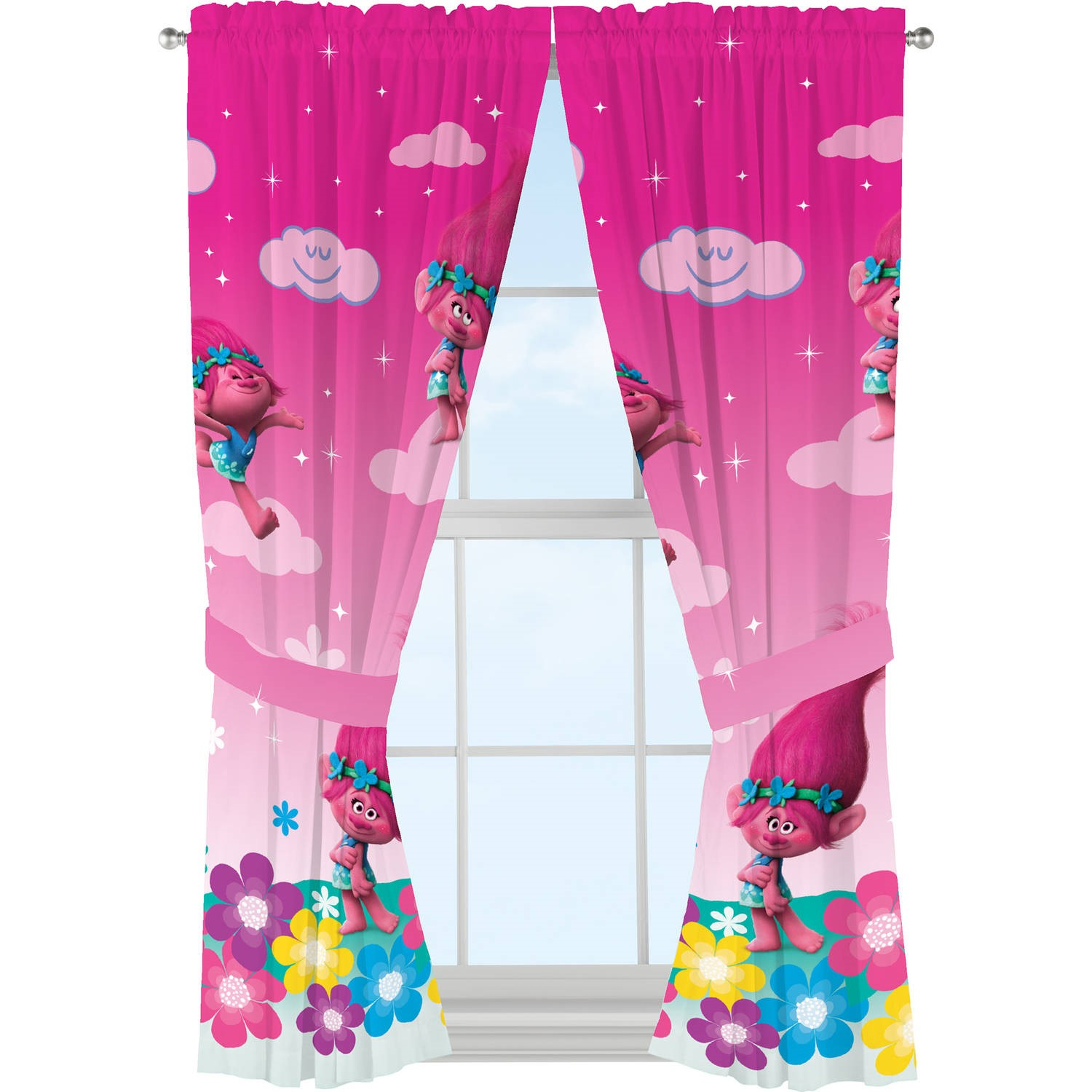 DreamWorks Trolls Jumping Rainbows Girls Bedroom Curtains, 1 Each